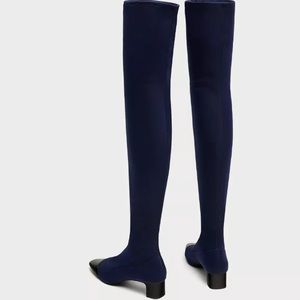 285a89fd7e4 Zara Shoes - Zara navy blue black toe over knee high boots